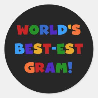 World's Best-est Gram Bright Colors Gifts Round Sticker