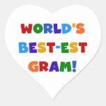 World's Best-est Gram Bright Colours Gifts Heart Sticker