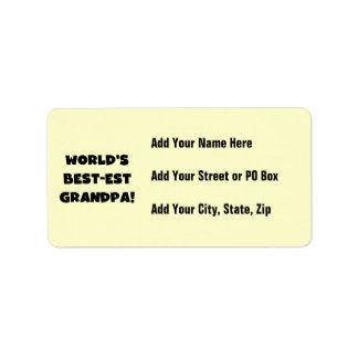 World's Best-est Grandpa Black or White Text Address Label