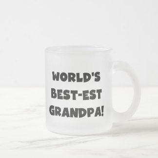 World's Best-est Grandpa Black or White Text Frosted Glass Coffee Mug