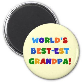 World's Best-est Grandpa Bright Colors Gifts 6 Cm Round Magnet