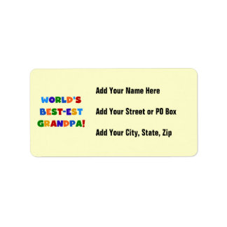 World's Best-est Grandpa Bright Colors Gifts Address Label