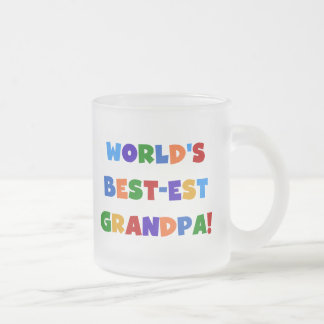 World's Best-est Grandpa Bright Colors Gifts Frosted Glass Mug