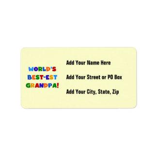 World's Best-est Grandpa Bright Colors Gifts Address Label