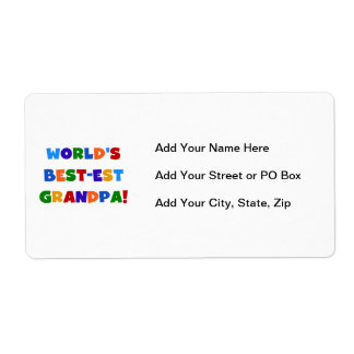 World's Best-est Grandpa Bright Colours Gifts Shipping Label