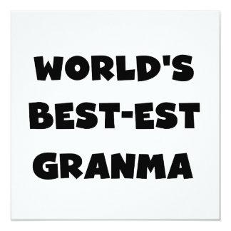 World's Best-est Granma Black and White 13 Cm X 13 Cm Square Invitation Card