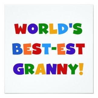 World's Best-est Granny Bright Colors 13 Cm X 13 Cm Square Invitation Card