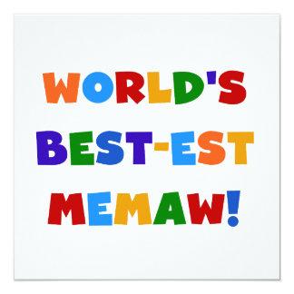 World's Best-est Memaw Bright Colors Tshirts 13 Cm X 13 Cm Square Invitation Card