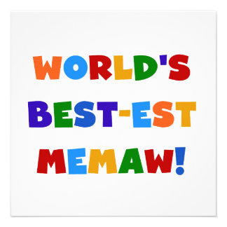 World's Best-est Memaw Bright Colors Tshirts Personalized Invite