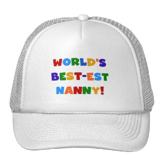 World's Best-est Nanny Bright Colors Gifts Mesh Hats