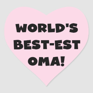 World's Best-est Oma Black or White Gifts Heart Sticker