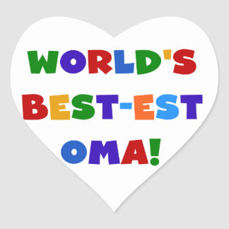 World's Best-est Oma Bright Colors Gifts Heart Sticker