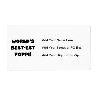 World's Best-est Poppi Black Text Gifts Shipping Label