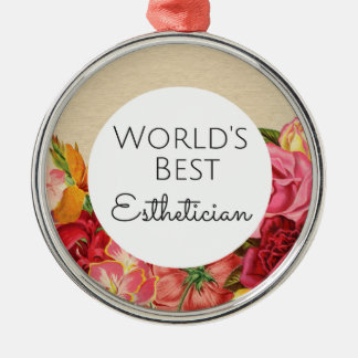 World's Best Esthetician gift Silver-Colored Round Decoration