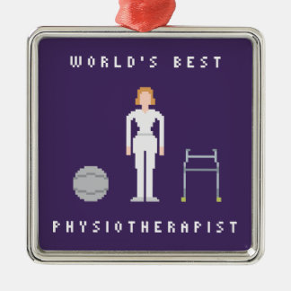 World's Best Female Physiotherapist 8Bit Style Silver-Colored Square Decoration
