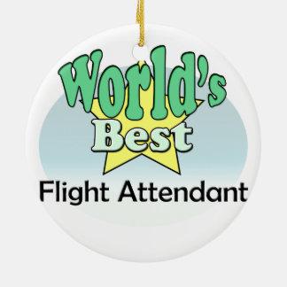 World's best Flight Attendant Round Ceramic Decoration