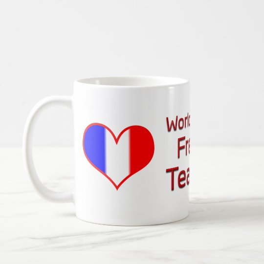 World's Best French Teacher with Heart Flag Coffee