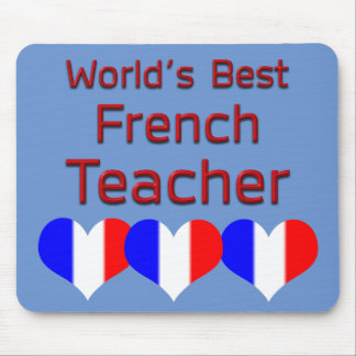 World's Best French Teacher with Heart Flag Mouse Pad