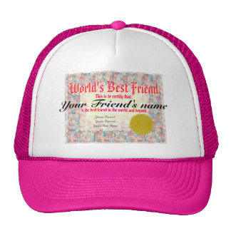 World's Best Friend Certificate Cap