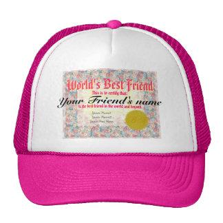 World's Best Friend Certificate Cap
