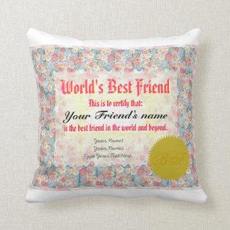 World's Best Friend Certificate Cushion