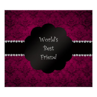 World's best friend pink damask posters