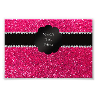 World's best friend pink glitter photo print
