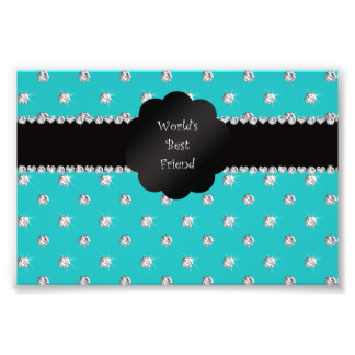 World's best friend turquoise diamonds photo print