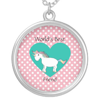 World's Best friend unicorn Silver Plated Necklace