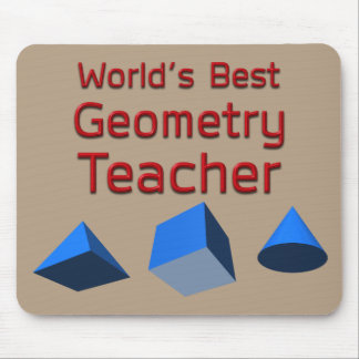 World's Best Geometry Teacher with 3D Shapes Mouse Pad