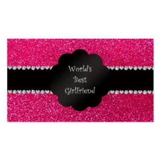 World's best girlfriend pink glitter business cards