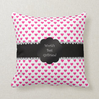 World's best girlfriend pink hearts cushion