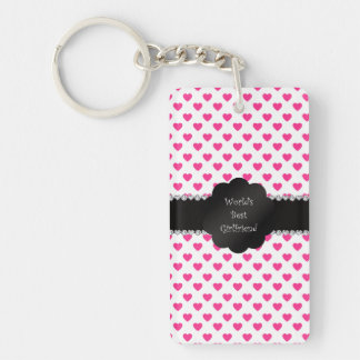 World's best girlfriend pink hearts Double-Sided rectangular acrylic key ring