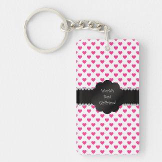 World's best girlfriend pink hearts key ring