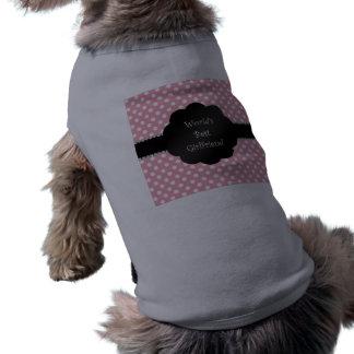 World's best girlfriend pink polka dots sleeveless dog shirt