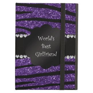 World's best girlfriend purple zebra stripes iPad air cases
