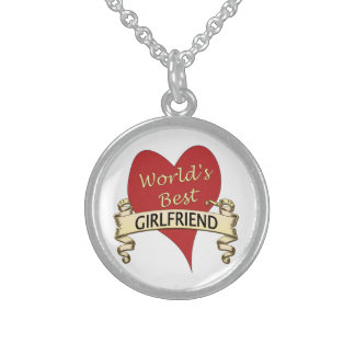 World's Best Girlfriend Round Pendant Necklace