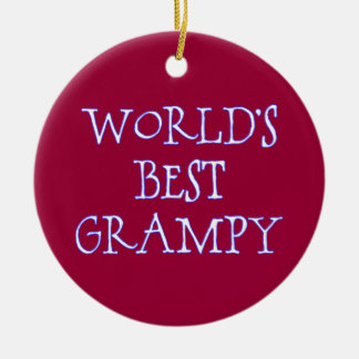 World's Best Grampy Dark Red Round Ceramic Decoration