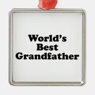 World's Best Grandfather Silver-Colored Square Decoration