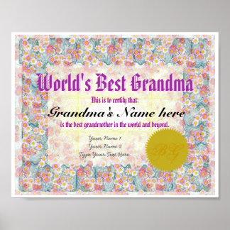World's Best Grandma Award Certificate Print