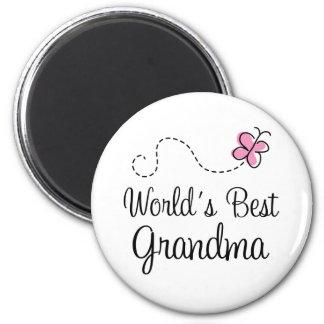 World's Best Grandma Butterfly Gift 6 Cm Round Magnet