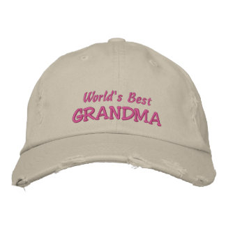 World's Best GRANDMA+Names of Grandkids Embroidered Hats