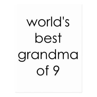 worlds best grandma of 9.png postcard
