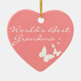 World's Best Grandma Pink Butterfly Heart Ornament