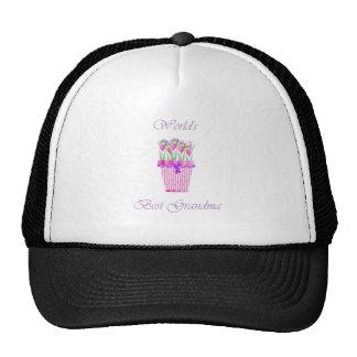 world's best grandma (pink flowers) hats