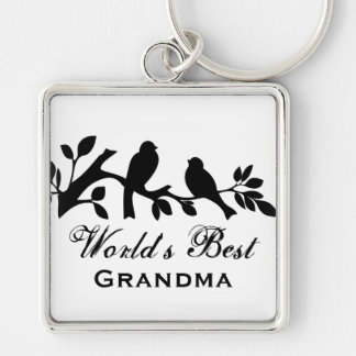 World's Best Grandma sparrows silhouette branch Silver-Colored Square Key Ring