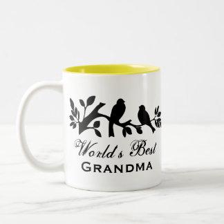 World's Best Grandma sparrows silhouette love bird Two-Tone Coffee Mug
