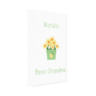 world's best grandma (yellow flowers) gallery wrapped canvas