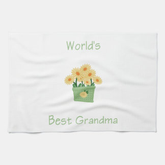 world's best grandma (yellow flowers) tea towel