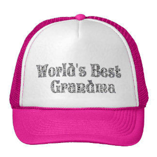 WORLD'S BEST GRANDMA- ZEBRA  PRINT-HAT